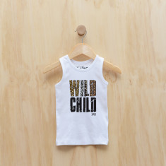Wild child personalised animal print singlet