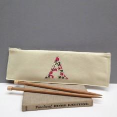 Felt & Liberty print applique knitting needle case