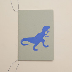 Dinosaur notebook in cobalt blue