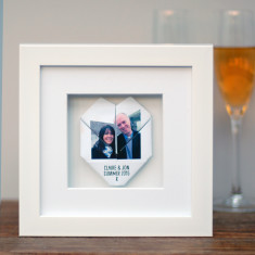 Personalised framed couple's origami photo heart artwork