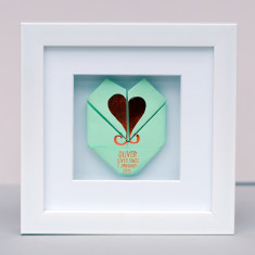 Framed copper origami heart newborn artwork