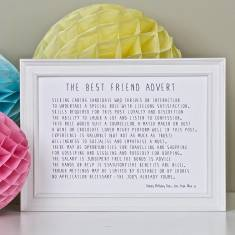 Best friend advert personalised poem print