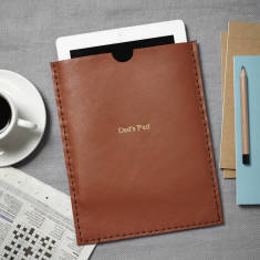 Handmade personalised leather iPad cover