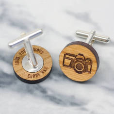 Wooden camera secret message cufflinks