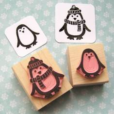 Pair of chilly penguins rubber stamps