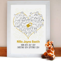 Fingerprint baby shower or christening guestbook
