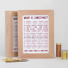 Christmas poem postcard in solid beech frame