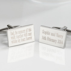 Personalised message silver plated cufflinks