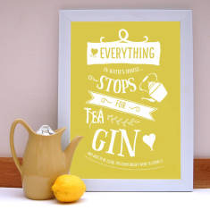 Everything stops for gin personalised print