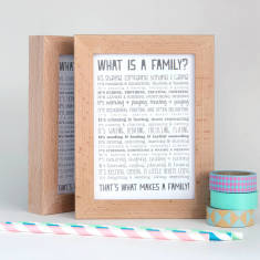 Family poem postcard in solid beech frame