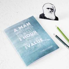 Charles Darwin quote notebook in teal