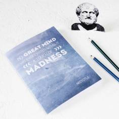 Aristotle quote notebook in blue