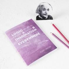 Einstein quote notebook in purple