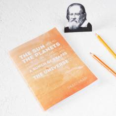 Galileo quote notebook in orange