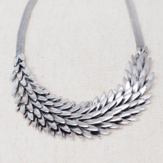 Silver leaf necklace with matching earrings
