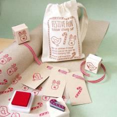Festive fun rubber stamp set