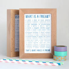 Friend poem postcard in solid beech frame