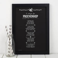 Chalkboard recipe for friendship personalised poem print