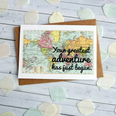 Greatest adventure wedding or engagement map card