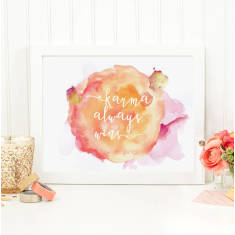 Karma always wins watercolour print