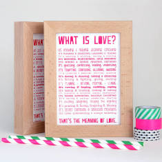 Love poem postcard in solid beech frame