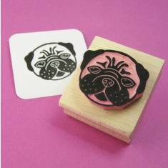 Lovely pug rubber stamp