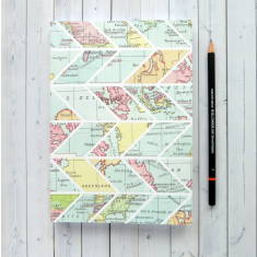 Writing Journal - Vintage Map Chevron Design