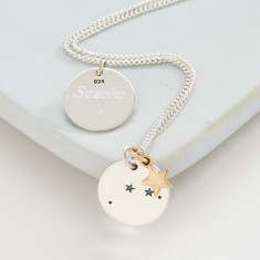 Silver zodiac constellation and star necklace
