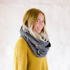 Organic cotton button infinity scarf