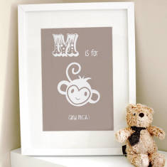 Personalised M is for monkey child's print