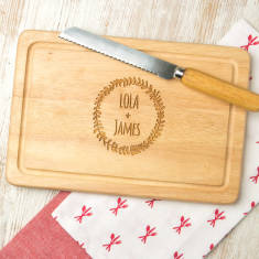 Personalised Engraved Couple's Chopping Wreath Board