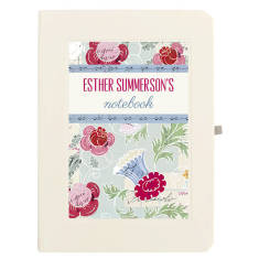 Personalised blue and pink floral notebook