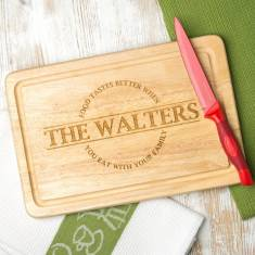 Personalised food tastes better when family name wooden board