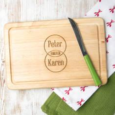 Personalised forever venn diagram chopping board