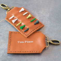 Personalised golf tee holder in tan