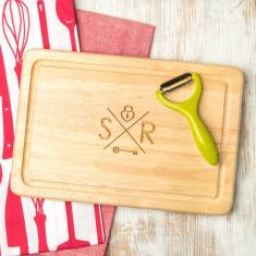 Personalised hipster couple's logo wooden chopping board