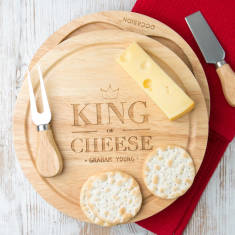 Personalised king of cheese board set with knives