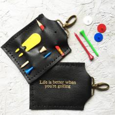 Personalised black golf accessory holder