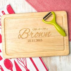 Personalised Mr And Mrs Name And Date Chopping Board