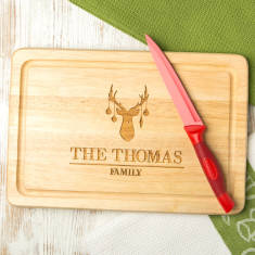 Personalised reindeer family chopping board