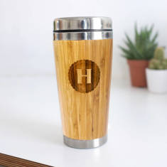 Personalised Wooden Letter Travel Mug