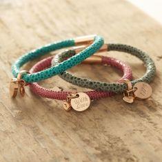 Personalised rose gold animal print leather bracelet