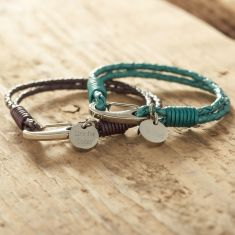 Braided leather bracelet with personalised disc