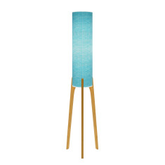 Phoebe original lamp with sketch teal paper and tri base