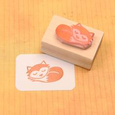 Sleepy fox rubber stamp
