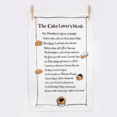Cake lover's week poem tea towel