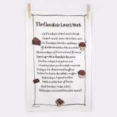 Chocolate lover's week poem tea towel