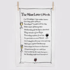 Wine lover's week poem tea towel