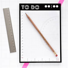 To do list memo pad with integrated rulers and wooden pencil