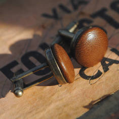 Vintage-style leather cufflinks